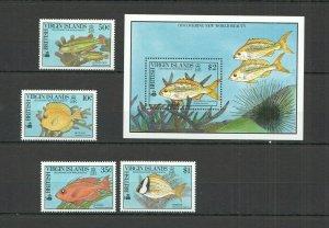 NW0083 1990 BRITISH VIRGIN ISLANDS FISHES #687-90 MICHEL 22,5 EURO BL+SET MNH