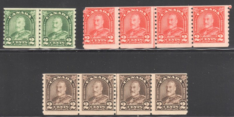 Canada #180ii Pair, #181iii Strip of 4 and #182iii Strip of 4 - All NH C$525,00