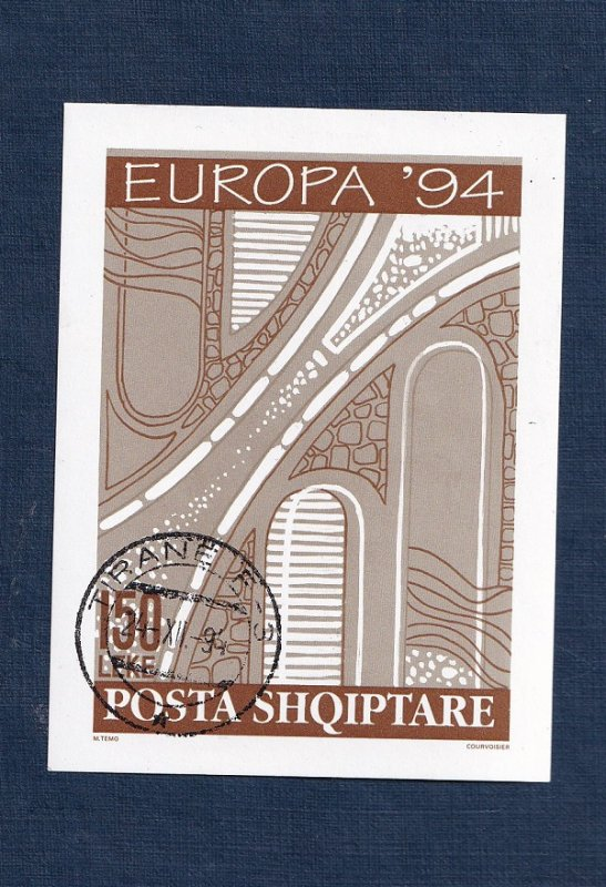 Albania  #2454  cancelled  1994  MNH   Europa sheet imperf  road project sketch