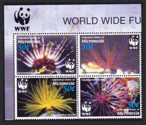 Micronesia WWF Feather Stars 4v Top Left Block of 4 with WWF Logo SG#1347-1350