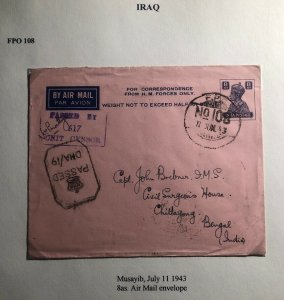1943 Musayib Iraq Indian Base Censored Airmail Cover To Chittagong India