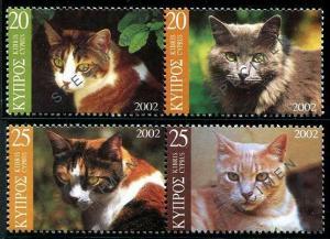 HERRICKSTAMP CYPRUS Sc.# 986-87 Cats NH Specimen Stamps