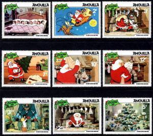 ANGUILLA - 1981 - DISNEY - SANTA - NIGHT BEFORE CHRISTMAS - MINT - MNH SET OF 9!
