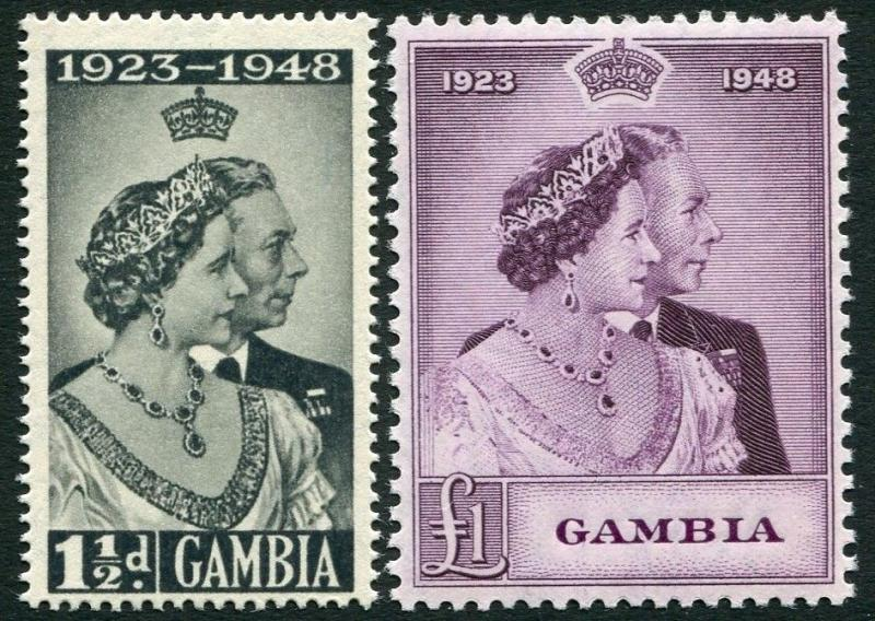 GAMBIA-1948 Royal Silver Wedding Set Sg 164-165 UNMOUNTED MINT V20211