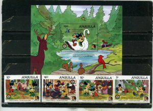 ANGUILLA 1985 DISNEY/BROTHERS GRIMM CHRISTMAS SET OF 4 STAMPS & S/S MNH
