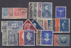 Netherlands Sc 87/324 used. 1907-1949 issues, 11 complete sets, F-VF