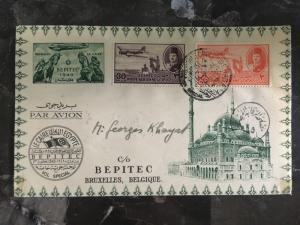 1949 Cairo Egypt Inaugural Flight Cover to Belgium Bepitec First FFC See back!