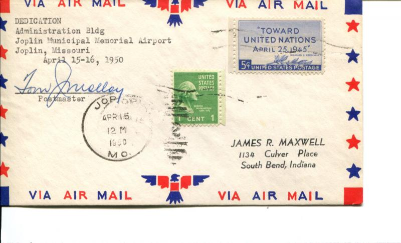 USA SC# 928 Admin Bldg Joplin Municiapal Mem Airport Dedication Patriotic Cover
