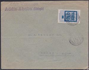 FRENCH SOMALI COAST 1922 cover ex Ethiopa sent via Djibouti................87769
