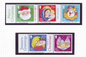 Isle of Man Sc 970-4 2002 Christmas & Europa stamp set NH