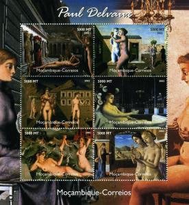 Mozambique 2002 Paul DELVAUX NUDES Paintings sheet Perforated Mint (NH)