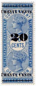 (I.B) Ceylon Telegraphs : Provisional 20c on 50c OP