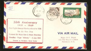 Canada 454 & 487 on 1969 Newfoundland-USA 50th Anniversary First Flight Cover