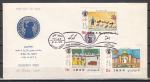 Persia, Scott cat. 1578-1580. Children`s Week. Art shown issue. First day Cover.