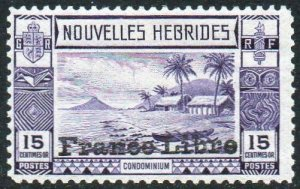 New Hebrides (French) 1941 15c violet with 'France Libre' ovpt MH