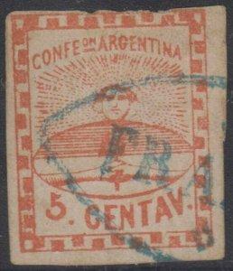 ARGENTINA 1858 CONFEDERATION Sc 1 USED BY CHOICE BLUE FRANCA OF PARANA CANCEL