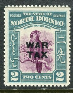 NORTH BORNEO; 1941 early WAR TAX OPtd. issue Mint hinged 2c. value