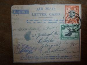 British KUT A/M letter card KGVI 2 stamp, military censor, to Scotland(42bea)