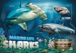 Sierra Leone MNH S/S Hammerhead Sharks Marine Life 2016