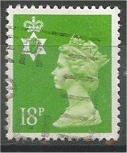 GREAT BRITAIN, N IRELAND, Machins, 1991, used 18p brt yel grn, Scott NIMH34