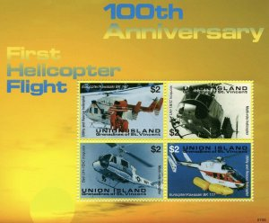 Union Island Gren St Vincent Aviation Stamps 2007 MNH Helicopters Flight 4v M/S