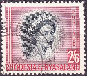 RHODESIA & NYASALAND 1954 EQII 2/6 Black & Rose-Red SG12 Used