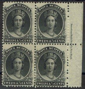 NOVA SCOTIA 1860 QV 121/2C IMPRINT BLOCK ON YELLOW PAPER