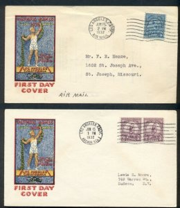 US #718-19, 3¢  & 5¢ Olympics FDCs, 1st Bennett cachets, Mellone $50.00