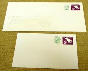 U553 5c U.S. Postage Envelope Lot of 2