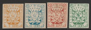 COLOMBIA : 1863 Arms 5c orange, 10c blue, 20c red & 50c green, imperf.