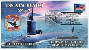 20-311, 2020, USS New Mexico, Event Cover, Pictorial Postmark, SSN-779, 10th Ann