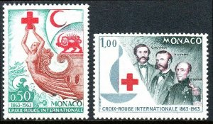 Monaco 536-537,MNH.Intl.Red Cross Cent.Red Cross,Red Cresent,Red Lion & Sun,1963