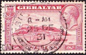 GIBRALTAR 1931 KGV 1d Scarlet SG110 Used