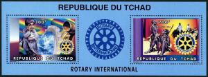 Chad 696 ab sheet,MNH. Rotary Intl 1996.Boy,water pipes;Native,volunteers.