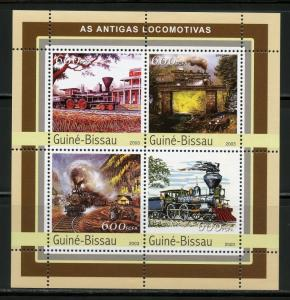 CLOSEOUT SPECIAL GUINEA BISSAU STEAM TRAINS SET OF TWO  SHEETS OF FOUR MINT NH