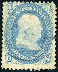 #63 – 1861 1¢ Benjamin Franklin, blue. Used.