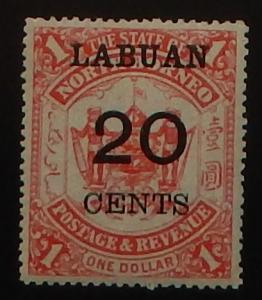 Labuan 60. 1895 20c on $1.00 Red