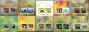 PE1013-1022 2014 BENIN WILD ANIMALS BIRDS REPTILES MARINE LIFE FAUNA 10BL MNH