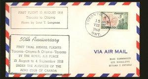 Canada 475 on 1968 50th Anniversary RCAF Toronto-Ottawa 1918 First Flight Cover