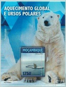 A1330 - MOZAMBIQUE, ERROR, MISPERF, Souvenir sheet: 2016, Polar Bears