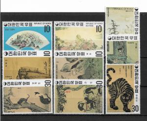 Korea Scott # 715-723 set VF mint lightly hinged NG ,scv $46 ,see pic !