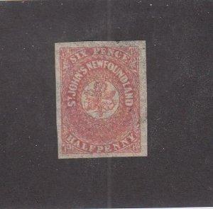 NEWFOUNDLAND (MK6783) # 21 VF-USED 61/2p 1861-62 ST JOHN'S IMPERF /ROSE  CV $200