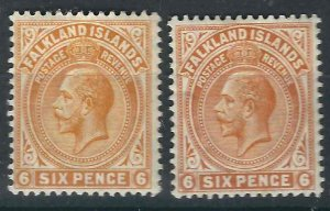 Falkland Is 34-34a SG 64, 64b MLH VF 1912-19 SCV $33.50