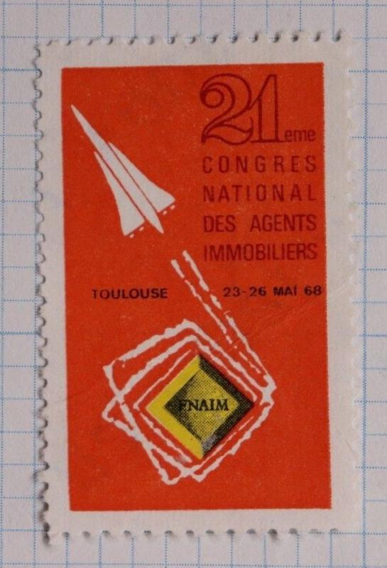 FNAIM 1968 expo Toulouse Real Estae Agent ad French national Poster Stamp DL