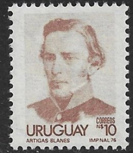 URUGUAY 1976-79 10p Brown ARTIGAS Issue Sc 963 MNH