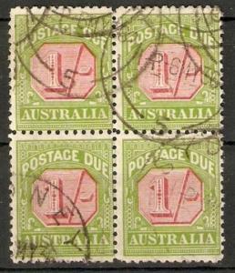 AUSTRALIA SGD111 1934 1/= POSTAGE DUE FINE USED BLOCK 4