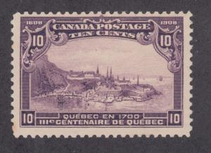 Canada Sc 101 MLH. 1908 10c View of Quebec, Scarce