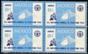MEXICO C305, 20th World Scout Conference. BLOCK OF FOUR. MINT, NH. VF.