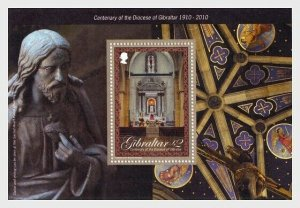 2010  GIBRALTAR  -  SG. MS1375  -  DIOCESE CENTENARY - UNMOUNTED MINT MINI SHEET