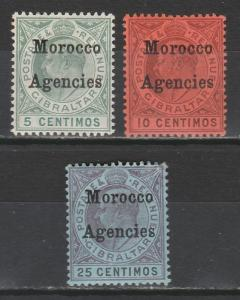 MOROCCO AGENCIES 1903 KEVII 5C 10C AND 25C WMK CROWN CA